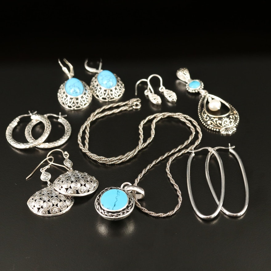 Sterling Necklace, Pendant and Earrings with Pearl and Turquoise