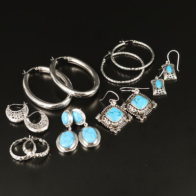 Sterling Silver Earring Assortment with Howlite and Turquoise