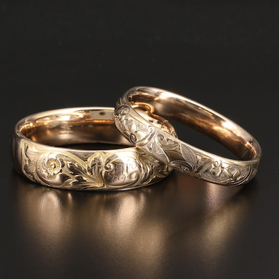 1910's Engraved Floral Hinged Bangles Featuring Mason, Howard & Co.