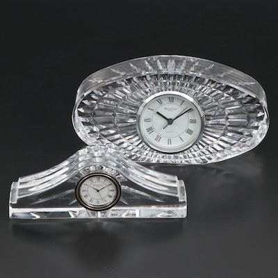 "Waterford ""Ashton"" and Oval Shaped Crystal Desk Clocks"