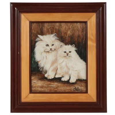 Portrait of White Persian Cats Feather and String Assemblage