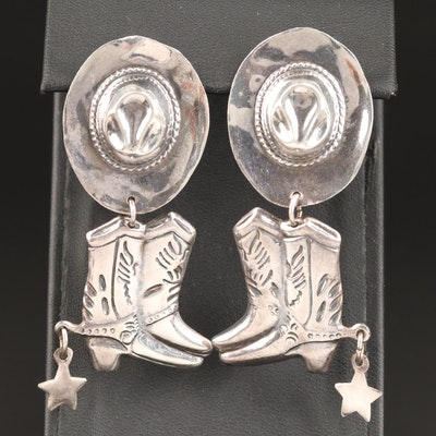 Western Sterling Cowboy Hat and Boots Drop Earrings