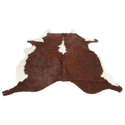 5'11 x 6'8 Natural Branded White and Brown Spotted Cow Hide Area Rug