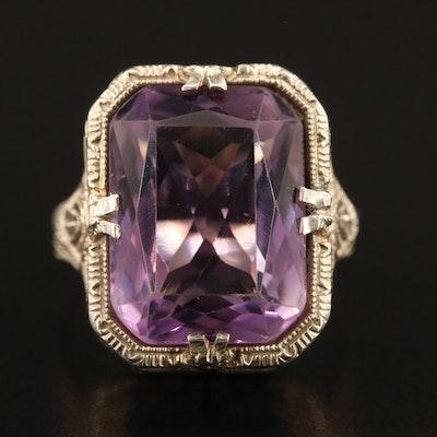 Art Deco 14K Amethyst Filigree Ring