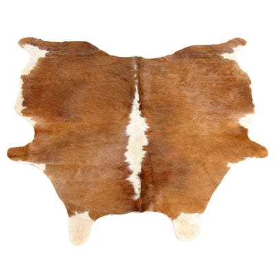 5'6 x 5'11 Natural White and Brown Spotted Cow Hide Area Rug