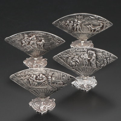 French 950 Silver Repoussé Fan Shaped Menu Holders, Late 19th-Early 20th Century