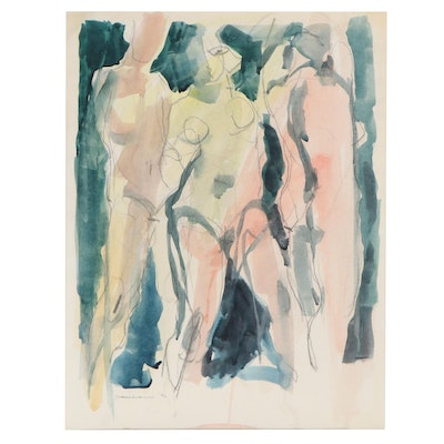 Jack Meanwell Abstract Watercolor and Graphite Figure Study, 1992