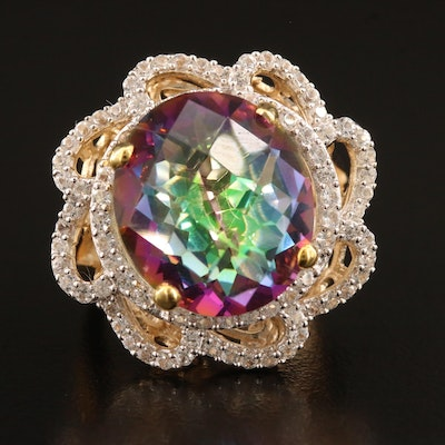 Sterling Silver Mystic Topaz and Sapphire Ring