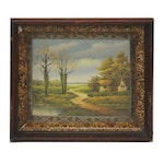 Oil Painting of Landscape with Farmhouse, Late 20th Century