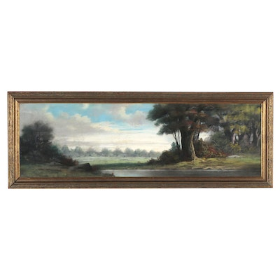 Country Landscape Pastel Drawing, Late 19th to Early 20th Century