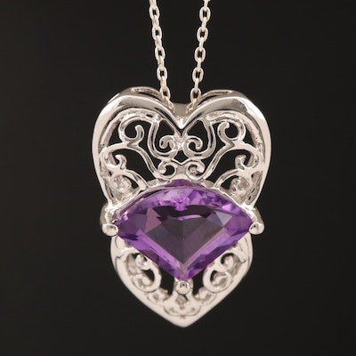 Sterling Silver Amethyst Pendant Necklace with Openwork Design