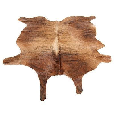 5'4 x 6'10 Natural Branded Brindle Cow Hide Area Rug