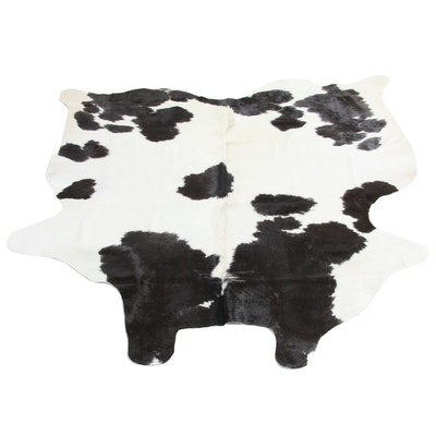 5'3 x 5'6 Natural Spotted Cow Hide Area Rug
