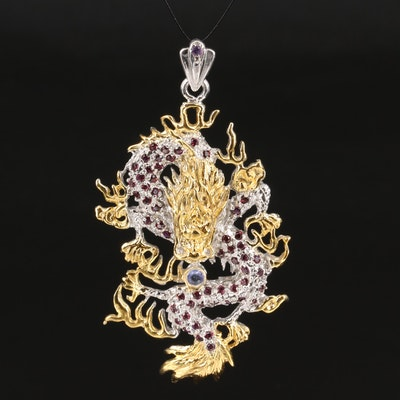 Asian Style Sterling Garnet and Tanzanite Dragon Pendant