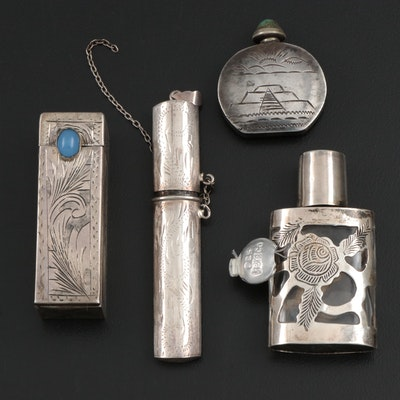 Sterling Silver Snuff Jar, Perfume Holder, Etui with 800 Silver Lipstick Tube