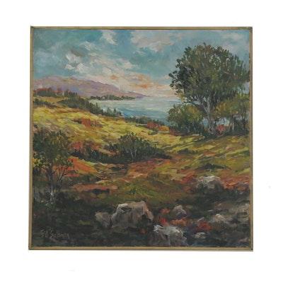 Bill Salamon Shoreline Landscape Acrylic Painting, Late 20th Century