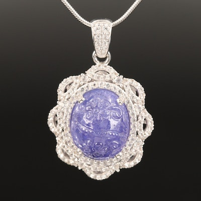 Sterling Silver Tanzanite and Topaz Necklace