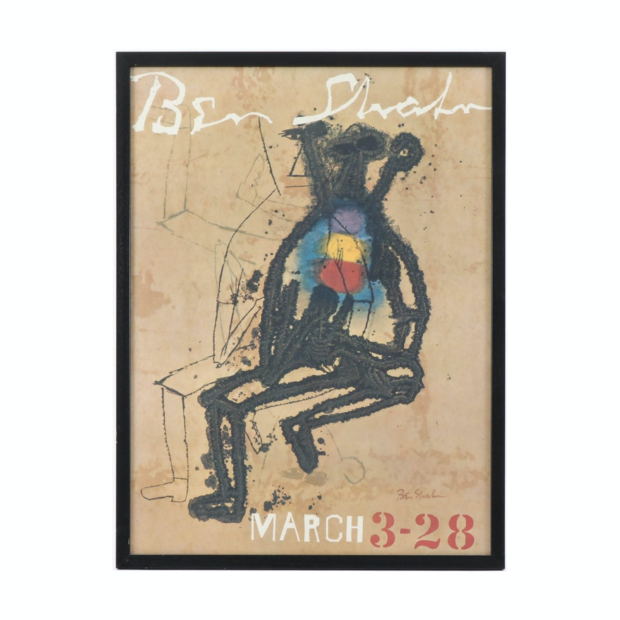 Offset Lithograph Exhibition Poster after Ben Shahn, Mid to Late 20th Century