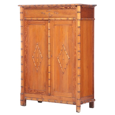 Aesthetic Movement Pine and Maple Faux-Bamboo Cabinet, Mid to Late 19th Century