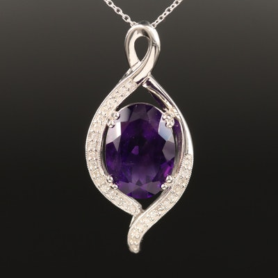 Sterling Amethyst and Diamond Necklace
