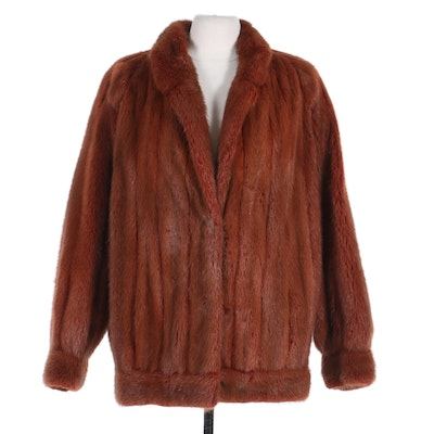 Dyed Mink Fur Jacket with Notched Collar and Banded Cuffs, Vintage
