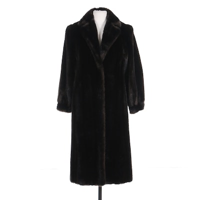 Emilio Pucci Faux Mink Fur Coat with Banded Cuffs