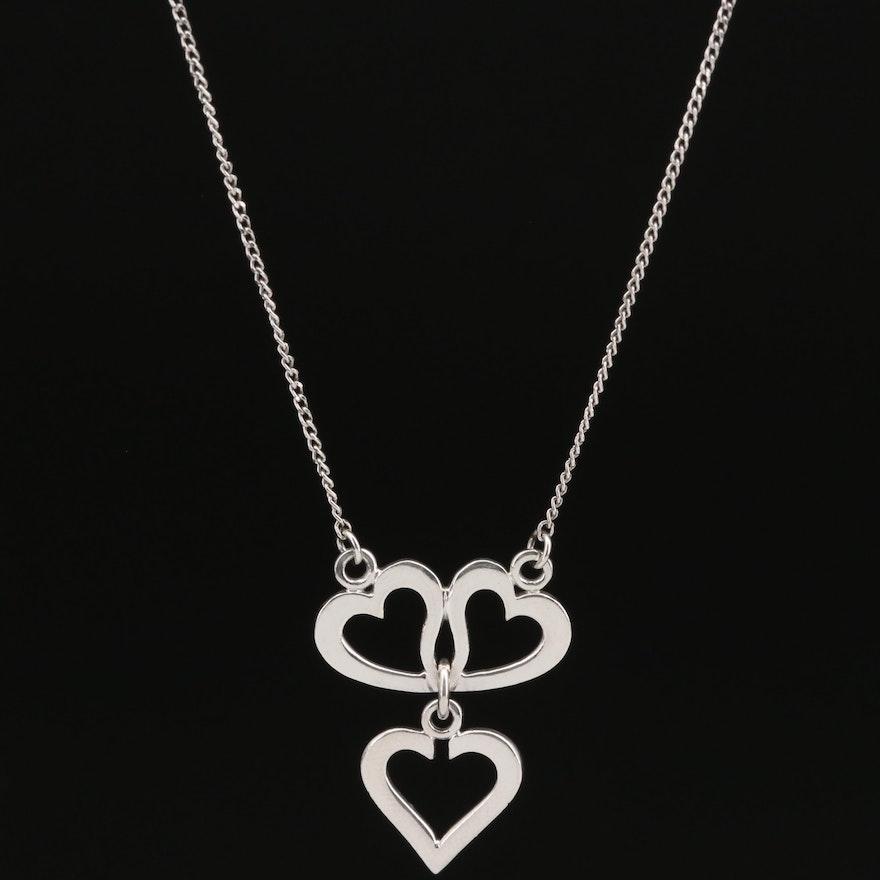 Platinum Triple Heart Necklace