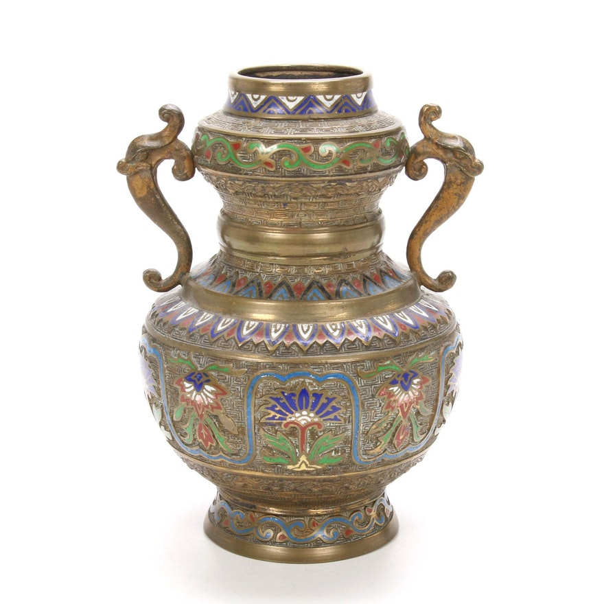 Japanese Champlevé Vase, Early to Mid 20th Century