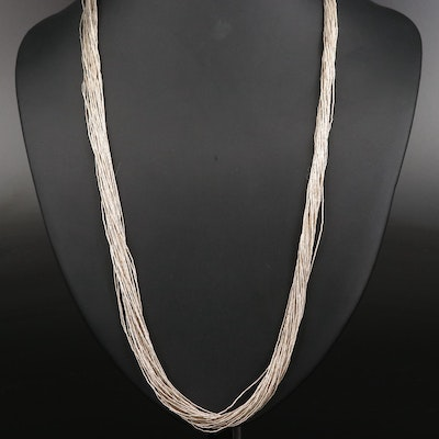 Sterling Silver Thirty Strand Liquid Silver Necklace