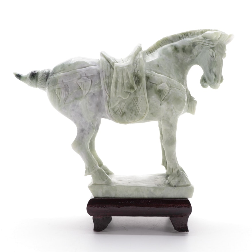 Chinese Carved Serpentine Horse Figurine with Wood Stand