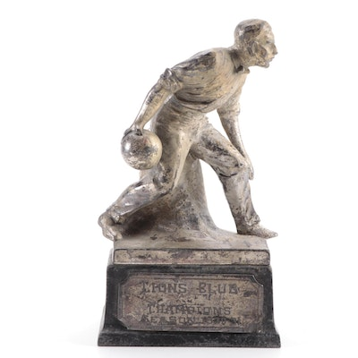 Art Deco Lion's Club Weidlich Brothers Figural Bowling Trophy, 1930-1931