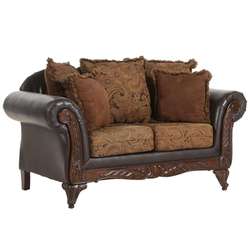 Hughes Furniture Leatherette and Velvet Upholstered Loveseat