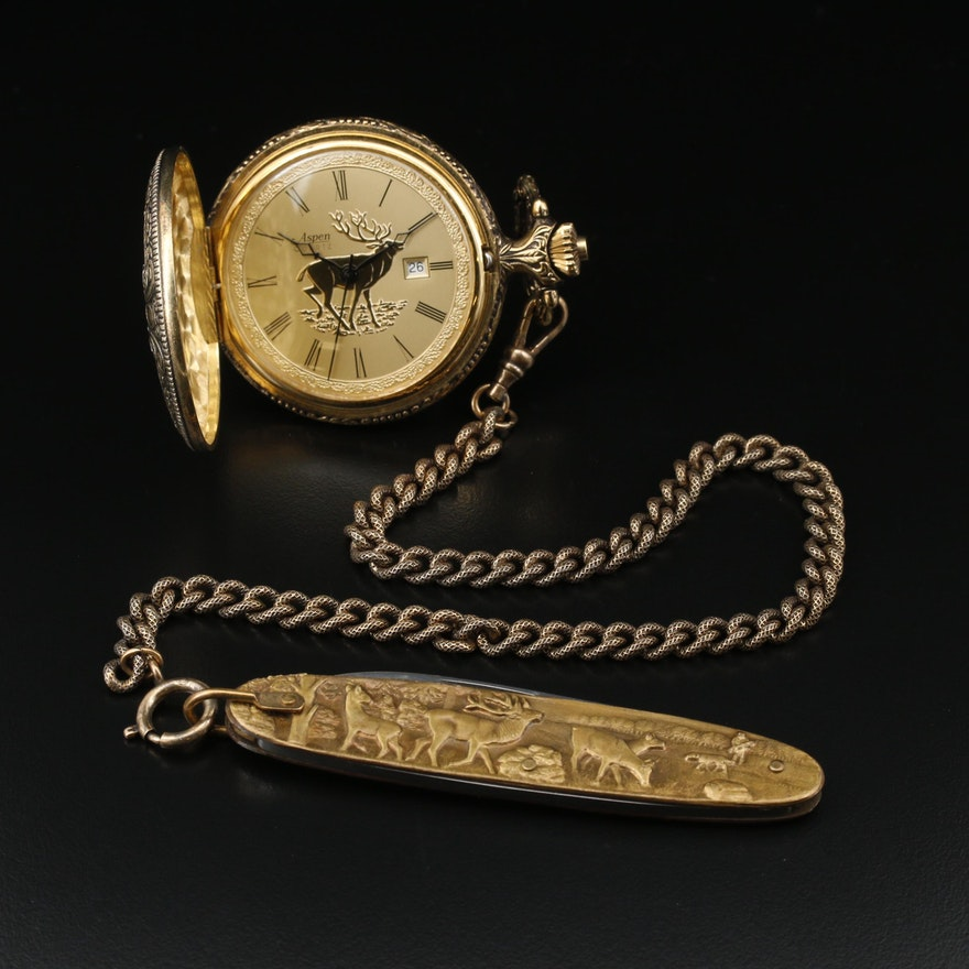 Aspen Elk Motif Hunting Case Pocket Watch with Knife Fob