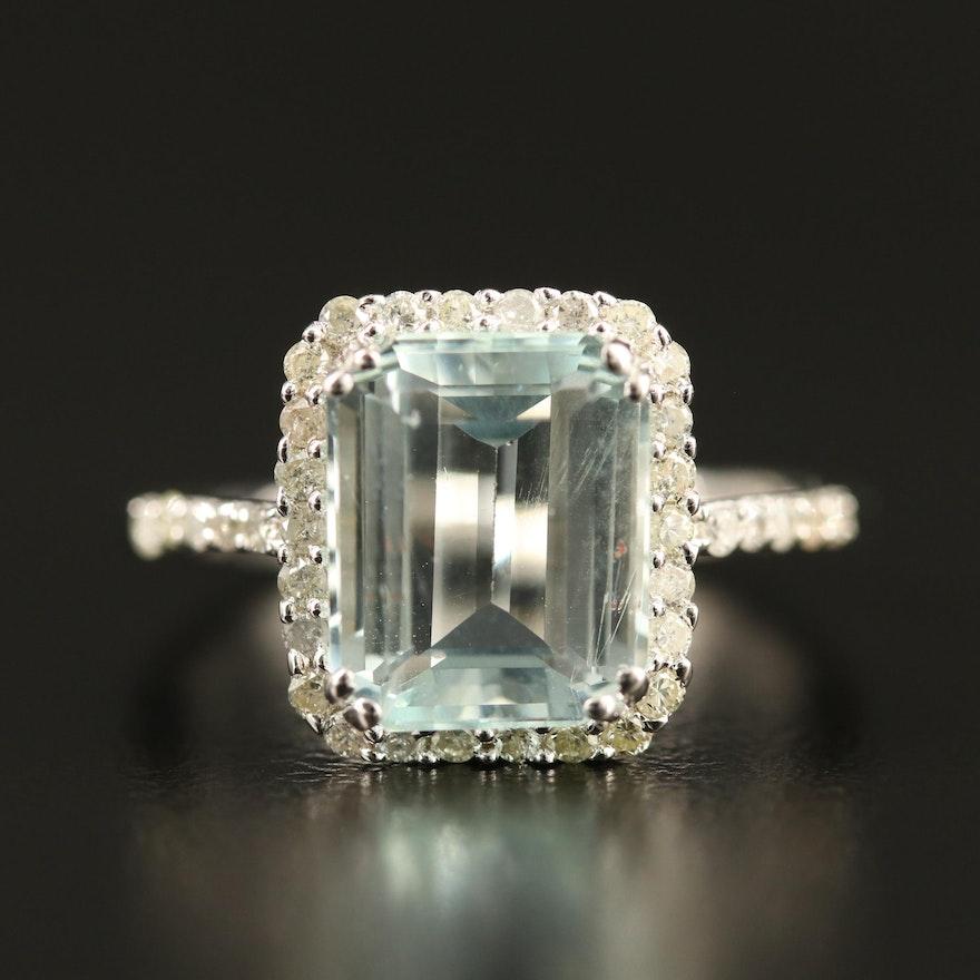 Sterling Aquamarine and Diamond Halo Ring