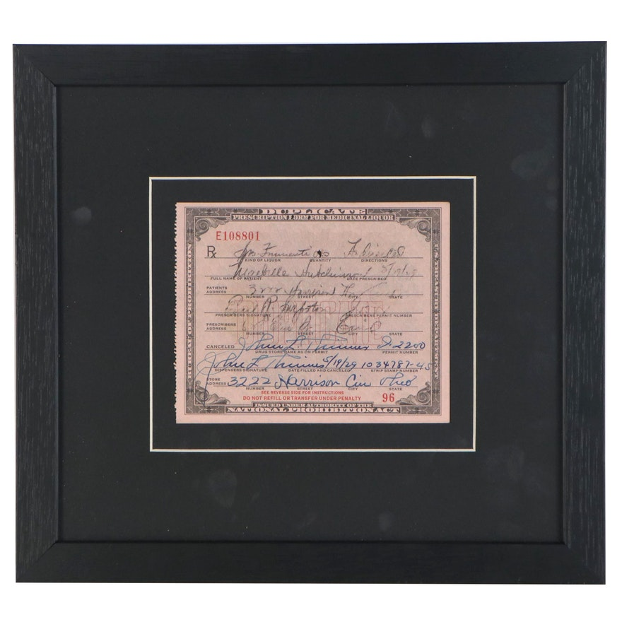 National Prohibition Act Prescription for Medicinal Whiskey, 1929