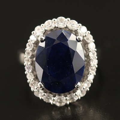 Sterling Sapphire Halo Ring