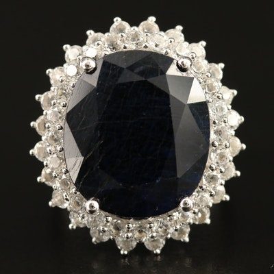 Sterling Silver Sapphire and Topaz Ring