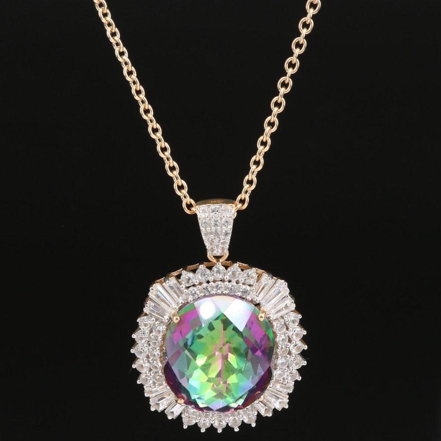 Sterling Silver Quartz and Sapphire Pendant Necklace