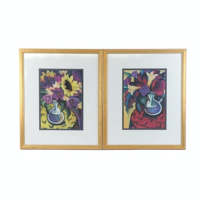 Still Life Offset Lithographs of Vivid Floral Bouquets