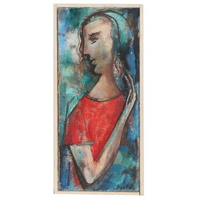 Samuel Bookatz Figurative Expressionist Oil Painting, Late 20th Century