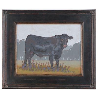 "Marella Poortenga Morris Acrylic Painting ""Cow Study VII"", 21st Century"