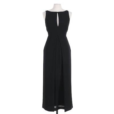 Emporio Armani Tulip Overlay Sleeveless Maxi Dress with Keyhole Neckline