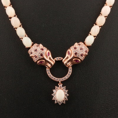 Sterling Silver Opal, Cubic Zirconia, Ruby and Garnet Necklace