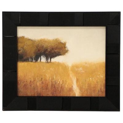 "SJ Studio Landscape Oil Painting ""Spring Trees,"" 21st Century"