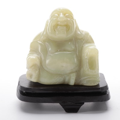 Carved Serpentine Hotei Buddha Figurine in Presentation Box