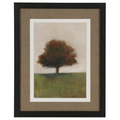 "SJ Studio Landscape Oil Painting ""Oak Tree #14,"" 21st Century"