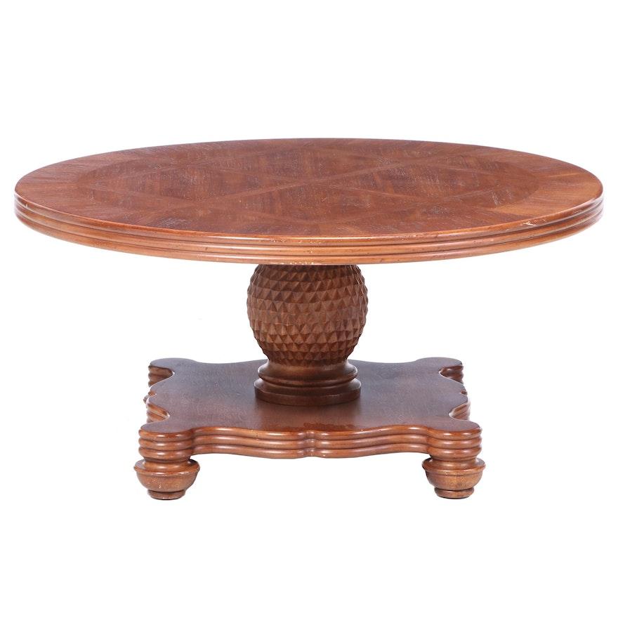 Contemporary Hardwood-Veneered and Crossbanded Pedestal Coffee Table
