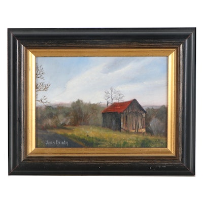 Joan Brady Oil Painting of a Landscape with Farmhouse, Late 20th Century