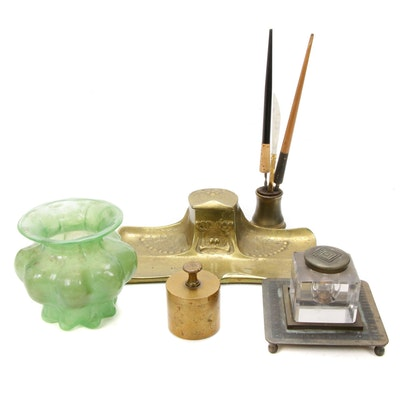 Bradley & Hubbard Brass and Glass Inkwells and Other Desk Accessories