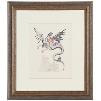 """Salvador Dalí Wood Engraving """"Hell Canto 17,"""" circa 1960"""